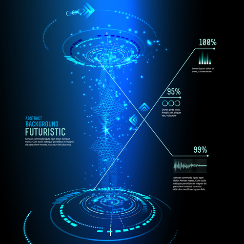 Futuristic tech with abstract background vector 01