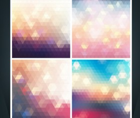 Geometric shapes mosaic background vector set 19