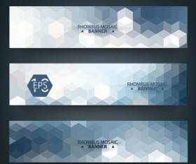 Geometric shapes mosaic vector banners 02