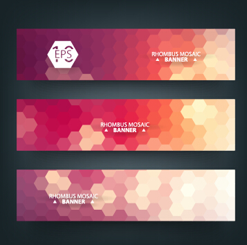 Geometric shapes mosaic vector banners 05