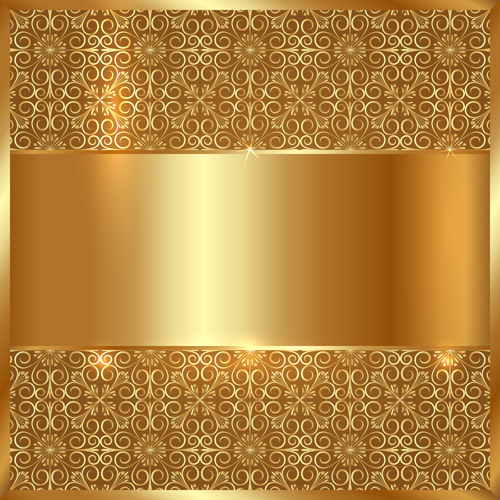 Golden Metal With Floral Background Vector 01