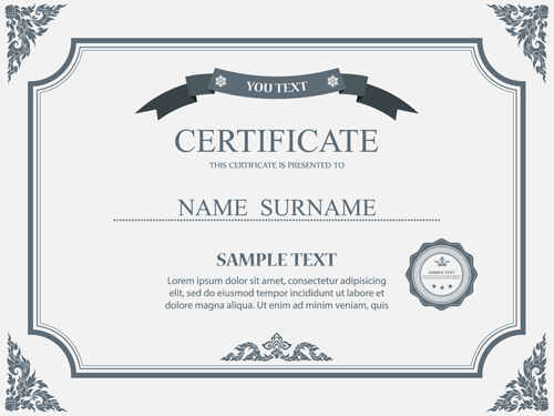 Gray styles certificates template vector material 01 free download