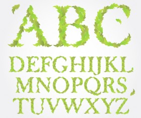 Green leaves alphabet excellent vector 04