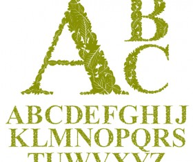 Green leaves alphabet excellent vector 06