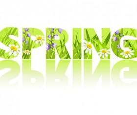Green spring text design vector