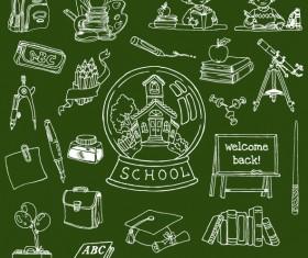 Hand drawn school supplies design vector