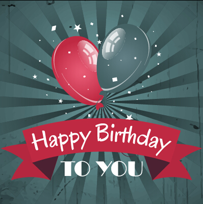 Happy birthday vintage card with balloons vector vector birthday happy birthday vintage card with balloons vector bookmarktalkfo Image collections