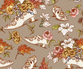High-heeled shoes and flowers vector pattern