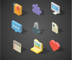 Isometric icons flat vector design 01