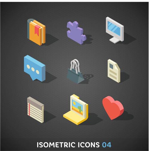 Isometric icons flat vector design 01