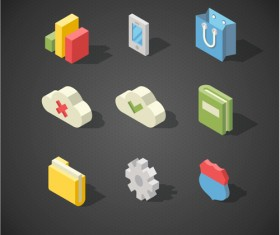 Isometric icons flat vector design 02