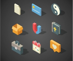 Isometric icons flat vector design 03