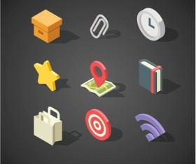Isometric icons flat vector design 04