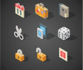Isometric icons flat vector design 07