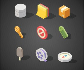 Isometric icons flat vector design 08