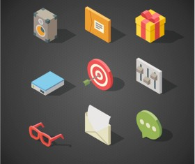 Isometric icons flat vector design 09