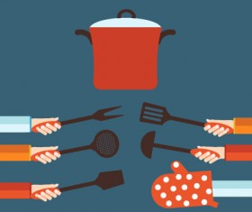 Kitchenware and hands vector material 02