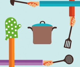 Kitchenware and hands vector material 03