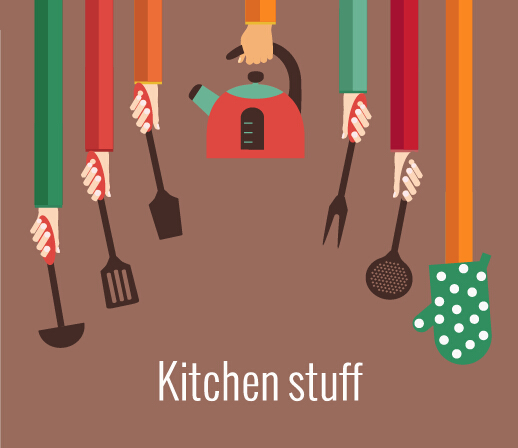 Kitchenware and hands vector material 05