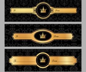 Luxury crown banners vector 02