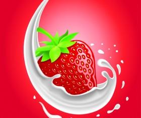 Milk with fruit vector background 01