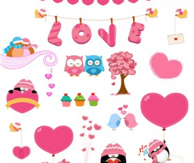 Owls and penguins with hearts vector