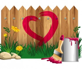 Paints with wood wall vector material 01