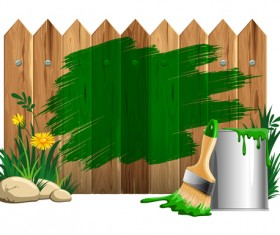 Paints with wood wall vector material 02