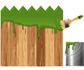 Paints with wood wall vector material 03