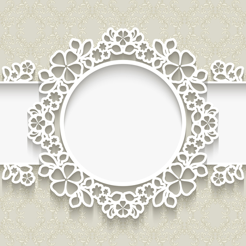 Paper frame with beige background vector 01