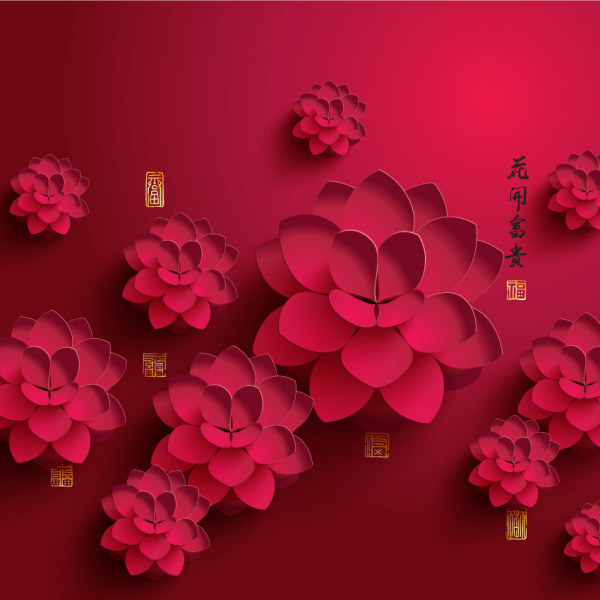Paper peony background vector