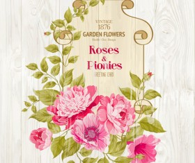 Pink flower cards with wood background vector 01