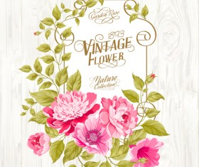 Pink flower cards with wood background vector 02