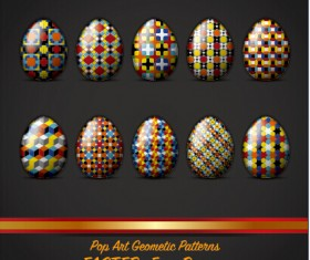 Pop art geometic pattern easter egg vector