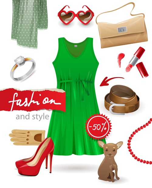 Pretty woman fashion style vectors
