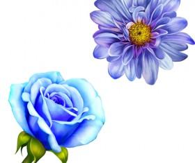 Realistic flowers beautiful vector set 01