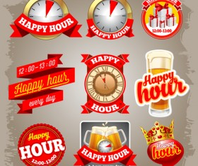 Red beer labels vector material