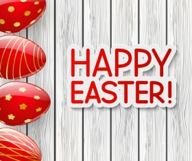 Red easter egg with wood background vector