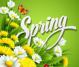 Refreshing spring flower backgrounds vector 03