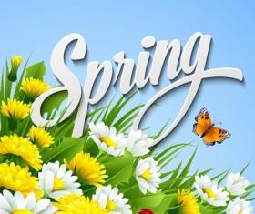 Refreshing spring flower backgrounds vector 04