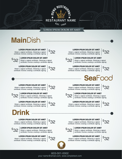 Menu list resume template sample