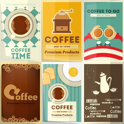 Retro coffee posters vector set