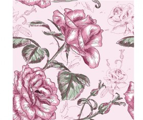Retro styles roses seamless pattern vector 01
