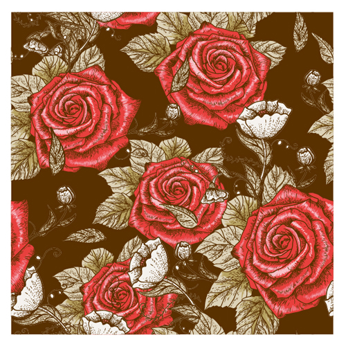 Retro styles roses seamless pattern vector 03