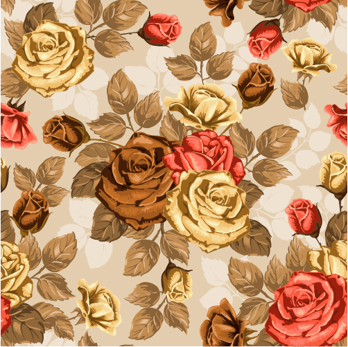 Retro styles roses seamless pattern vector 04