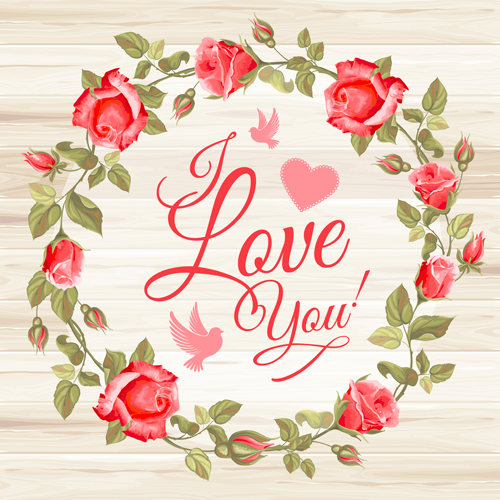 Rose frame with wedding cards vector 01