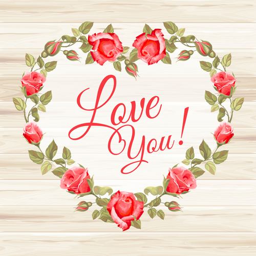 Rose frame with wedding cards vector 02 free download