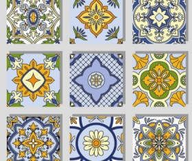 Seamless pattern tile floral vector set 01