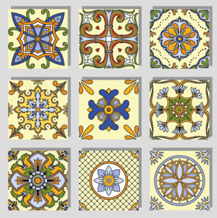 Seamless pattern tile floral vector set 02