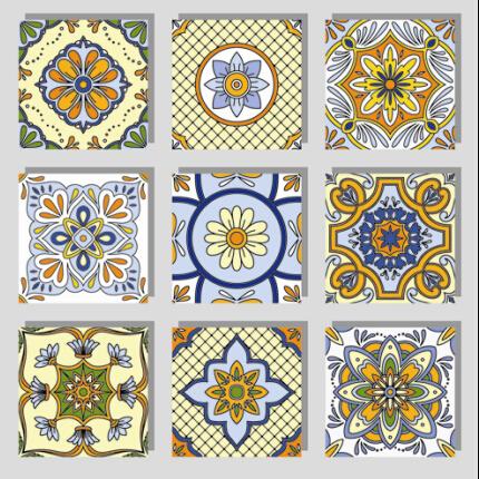 Seamless pattern tile floral vector set 03